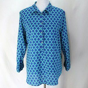 Lands End Popover Blouse Blue Teal Geometric Print
